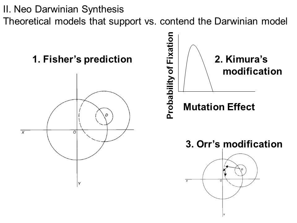 1. Fisher's prediction Mutation Effect Probability of Fixation 2.