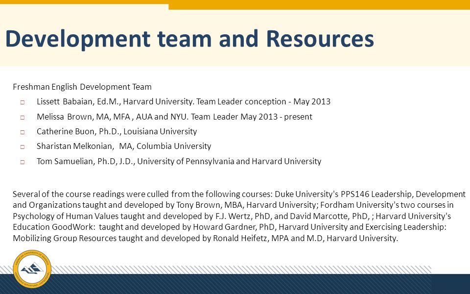 Development team and Resources Freshman English Development Team  Lissett Babaian, Ed.M., Harvard University. Team Leader conception - May 2013  Mel
