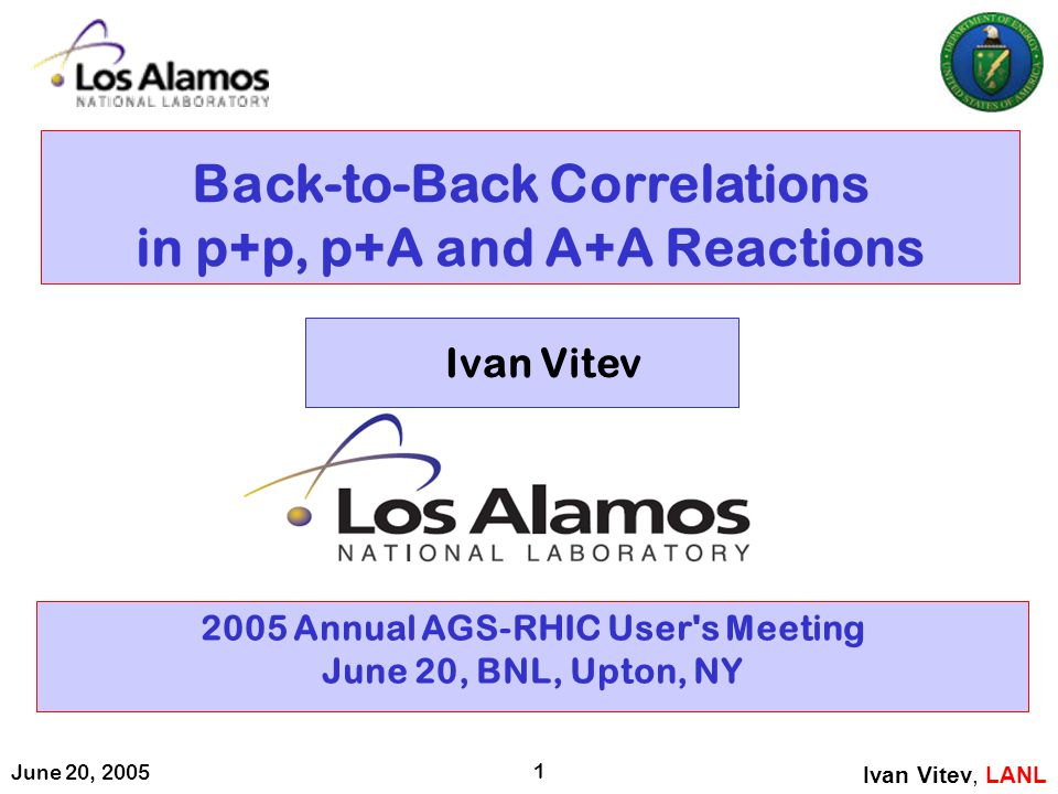 June 20, 2005 1 Back-to-Back Correlations in p+p, p+A and A+A Reactions 2005 Annual AGS-RHIC User's Meeting June 20, BNL, Upton, NY Ivan Vitev, LANL I