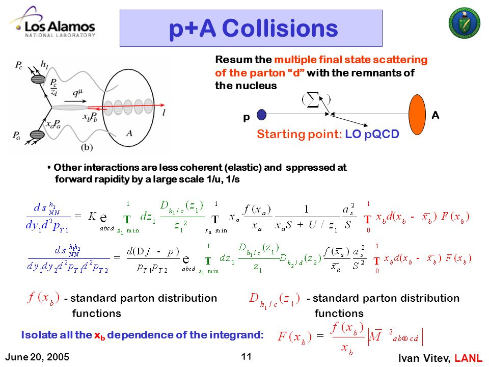 June 20, 2005 11 p+A Collisions Ivan Vitev, LANL Isolate all the x b dependence of the integrand: Resum the multiple final state scattering of the par