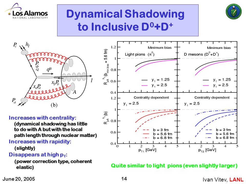 June 20, 2005 14 Dynamical Shadowing to Inclusive D 0 +D + Ivan Vitev, LANL Increases with centrality: (dynamical shadowing has little to do with A bu