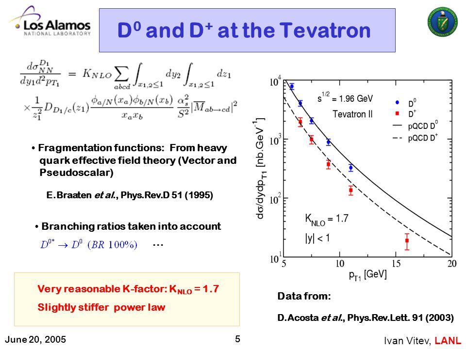 June 20, 2005 5 D 0 and D + at the Tevatron Ivan Vitev, LANL D.Acosta et al., Phys.Rev.Lett.