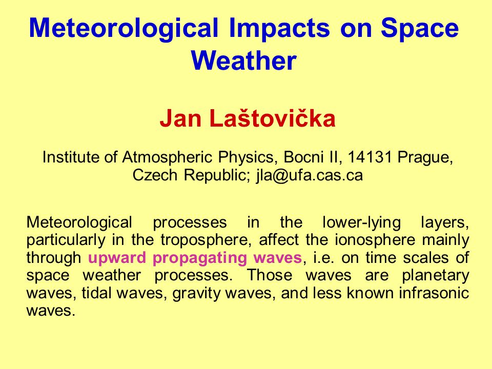 Meteorological Impacts on Space Weather Jan Laštovička Institute of Atmospheric Physics, Bocni II, 14131 Prague, Czech Republic; jla@ufa.cas.ca Meteor