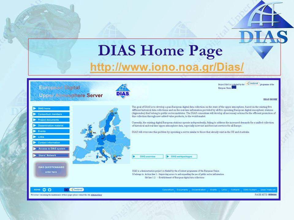 DIAS Home Page http://www.iono.noa.gr/Dias/http://www.iono.noa.gr/Dias/