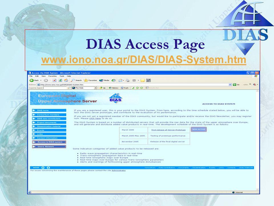 DIAS Access Page www.iono.noa.gr/DIAS/DIAS-System.htmwww.iono.noa.gr/DIAS/DIAS-System.htm