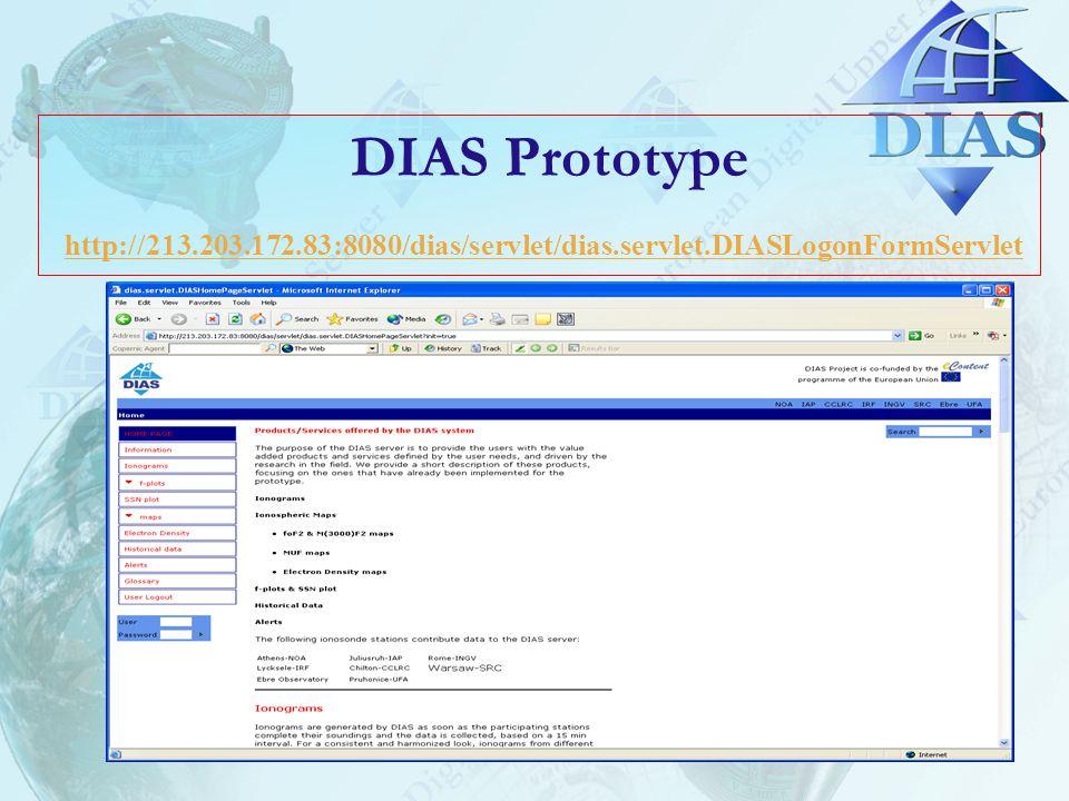 DIAS Prototype http://213.203.172.83:8080/dias/servlet/dias.servlet.DIASLogonFormServlet http://213.203.172.83:8080/dias/servlet/dias.servlet.DIASLogonFormServlet
