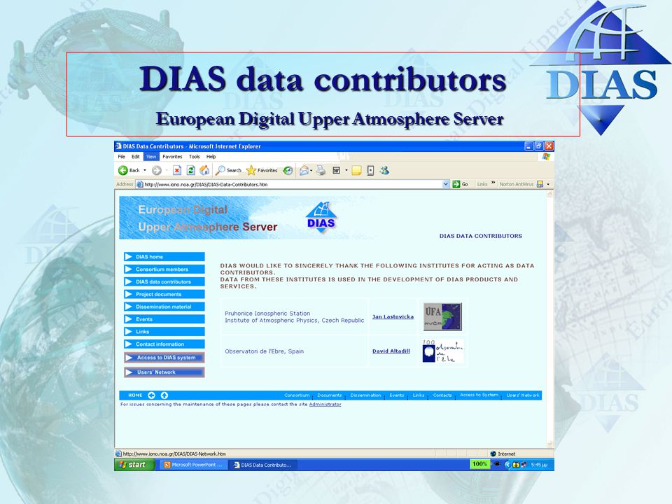 DIAS data contributors European Digital Upper Atmosphere Server