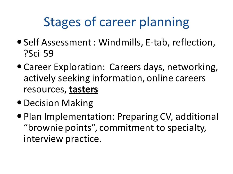 Stages of career planning Self Assessment : Windmills, E-tab, reflection, Sci-59 Career Exploration: Careers days, networking, actively seeking information, online careers resources, tasters Decision Making Plan Implementation: Preparing CV, additional brownie points , commitment to specialty, interview practice.