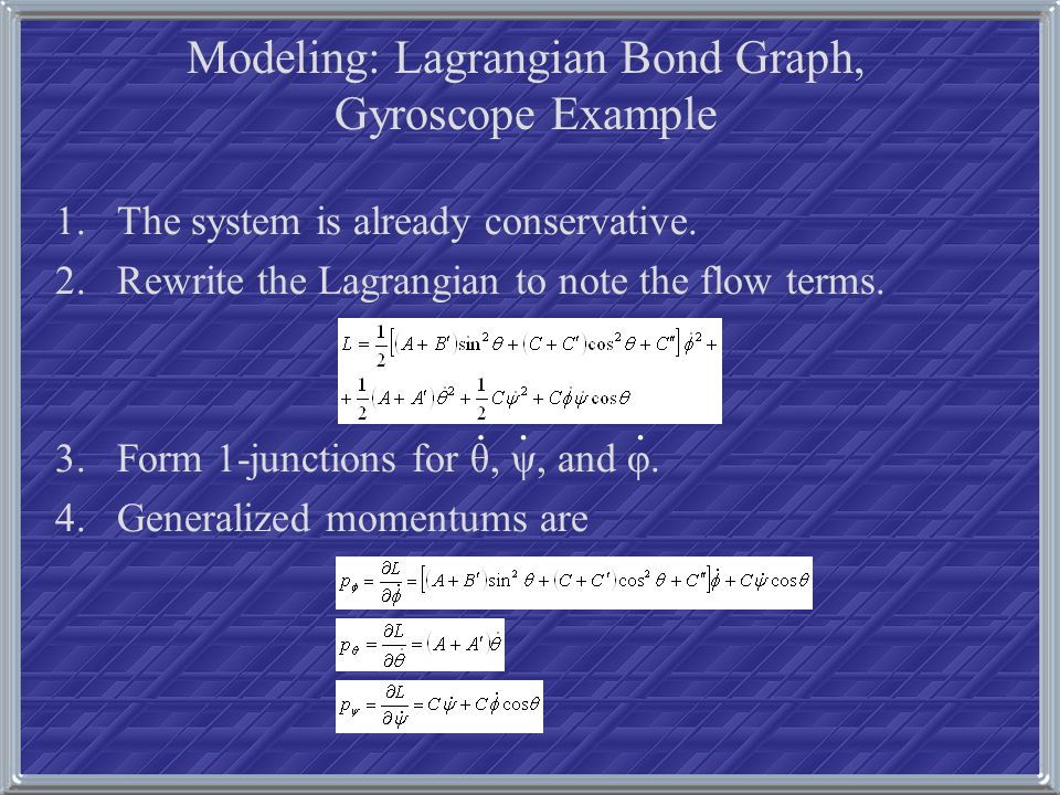 1.The system is already conservative. 2.Rewrite the Lagrangian to note the flow terms. 3.Form 1-junctions for θ, ψ, and φ. 4.Generalized momentums are