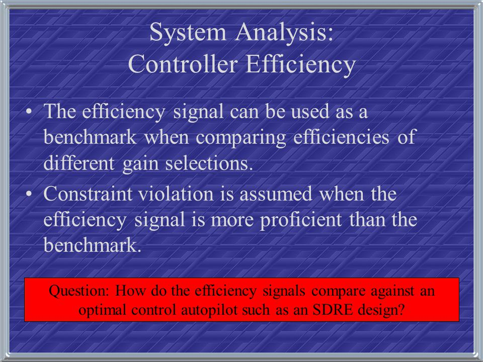 System Analysis: Controller Efficiency The efficiency signal can be used as a benchmark when comparing efficiencies of different gain selections. Cons