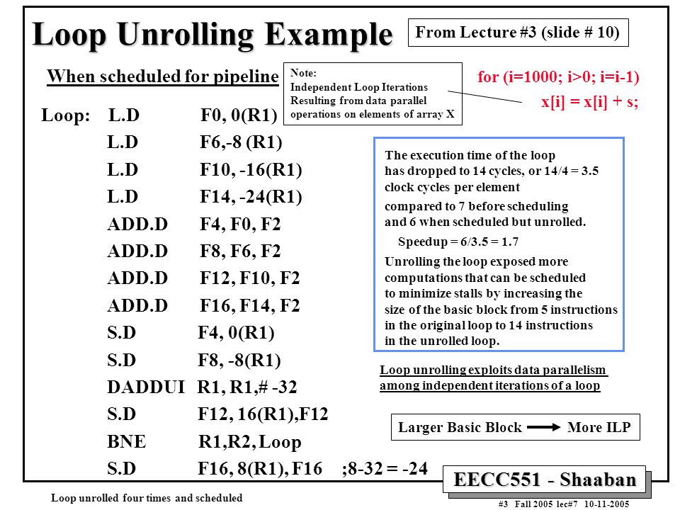 EECC551 - Shaaban #3 Fall 2005 lec#7 10-11-2005 Loop Unrolling Example When scheduled for pipeline Loop: L.D F0, 0(R1) L.D F6,-8 (R1) L.D F10, -16(R1) L.D F14, -24(R1) ADD.D F4, F0, F2 ADD.D F8, F6, F2 ADD.D F12, F10, F2 ADD.D F16, F14, F2 S.D F4, 0(R1) S.D F8, -8(R1) DADDUI R1, R1,# -32 S.D F12, 16(R1),F12 BNE R1,R2, Loop S.D F16, 8(R1), F16 ;8-32 = -24 The execution time of the loop has dropped to 14 cycles, or 14/4 = 3.5 clock cycles per element compared to 7 before scheduling and 6 when scheduled but unrolled.
