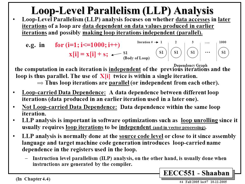 EECC551 - Shaaban #4 Fall 2005 lec#7 10-11-2005 Loop-Level Parallelism (LLP) Analysis Loop-Level Parallelism (LLP) analysis focuses on whether data accesses in later iterations of a loop are data dependent on data values produced in earlier iterations and possibly making loop iterations independent (parallel).