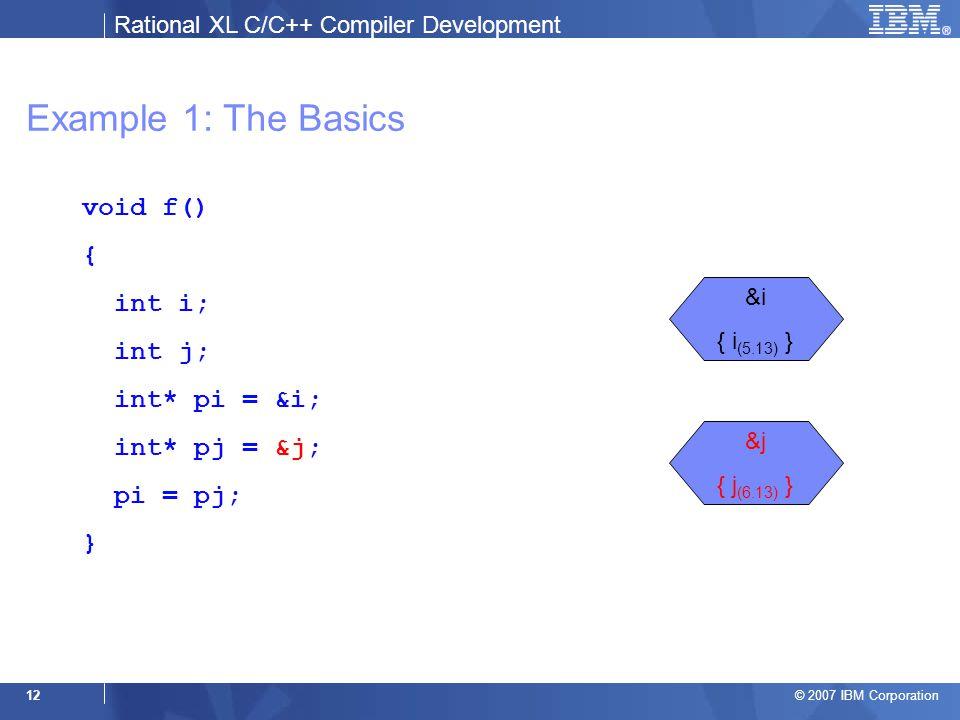 Rational XL C/C++ Compiler Development © 2007 IBM Corporation 12 Example 1: The Basics void f() { int i; int j; int* pi = &i; int* pj = &j; pi = pj; } &i { i (5.13) } &j { j (6.13) }
