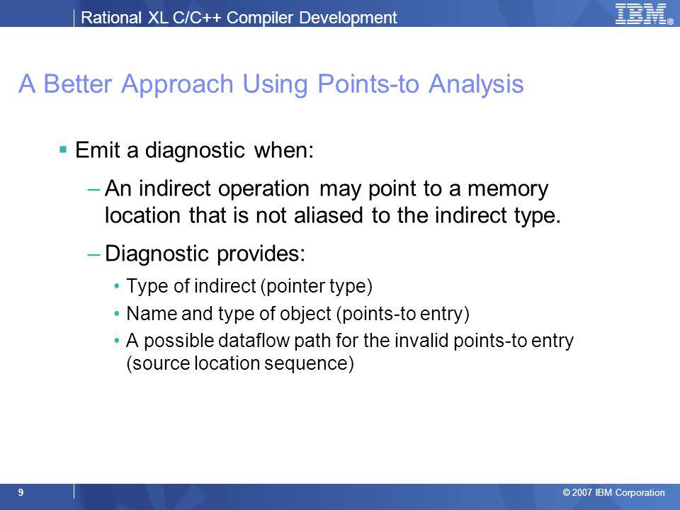 Rational XL C/C++ Compiler Development © 2007 IBM Corporation 20 Example 2: Function Calls void f(int *p); void g() { int i; f(&i); } void h() { int i; f(&i); }  Note node sharing for the second call &g::i { g::i (6.5) } &h::i { h::i (12.5) } f::p { g::i (6.4) h::i (12.4) }