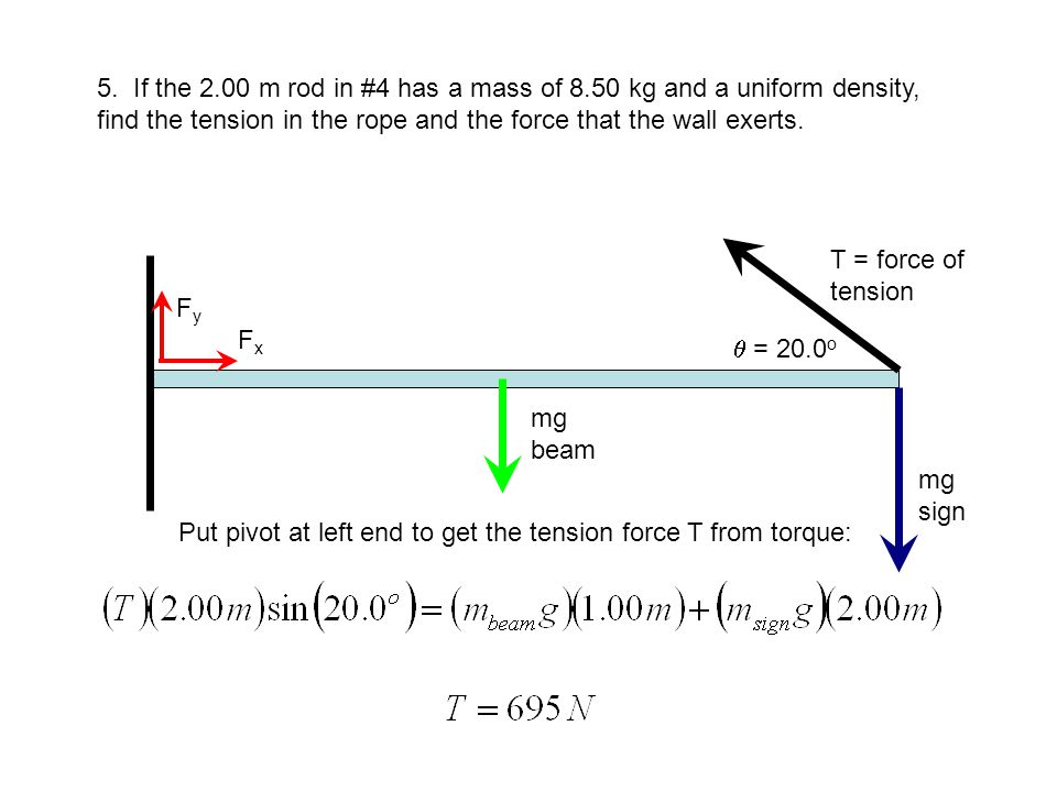 5. {continued} Use net force to get to Fx and Fy: