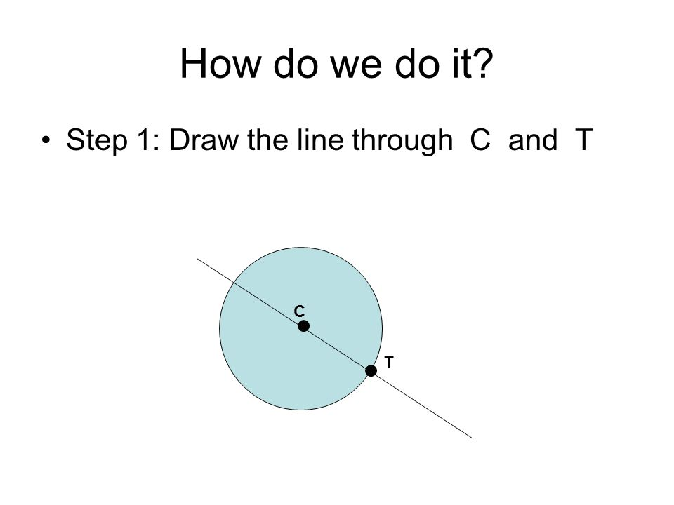 How do we do it Step 1: Draw the line through C and T C T