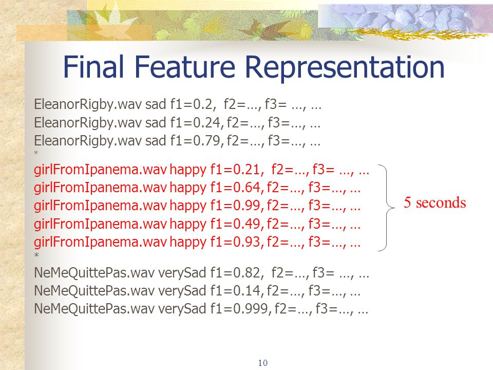 10 Final Feature Representation EleanorRigby.wav sad f1=0.2, f2=…, f3= …, … EleanorRigby.wav sad f1=0.24, f2=…, f3=…, … EleanorRigby.wav sad f1=0.79, f2=…, f3=…, … * girlFromIpanema.wav happy f1=0.21, f2=…, f3= …, … girlFromIpanema.wav happy f1=0.64, f2=…, f3=…, … girlFromIpanema.wav happy f1=0.99, f2=…, f3=…, … girlFromIpanema.wav happy f1=0.49, f2=…, f3=…, … girlFromIpanema.wav happy f1=0.93, f2=…, f3=…, … * NeMeQuittePas.wav verySad f1=0.82, f2=…, f3= …, … NeMeQuittePas.wav verySad f1=0.14, f2=…, f3=…, … NeMeQuittePas.wav verySad f1=0.999, f2=…, f3=…, … 5 seconds