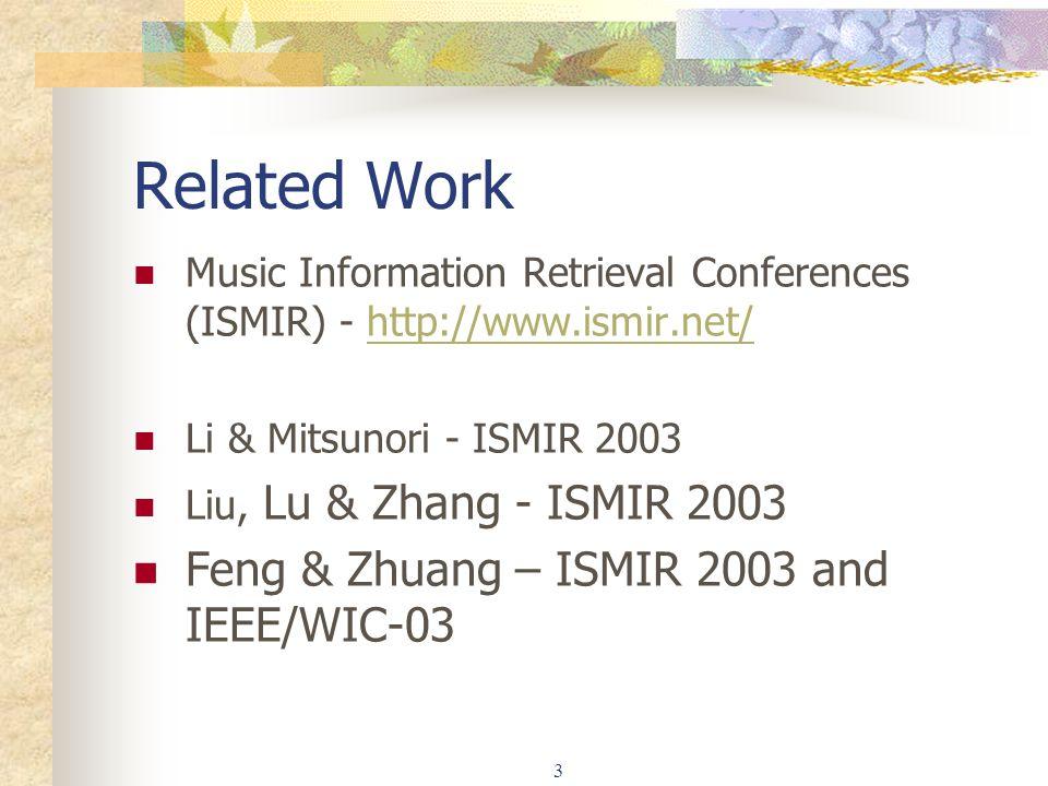 3 Related Work Music Information Retrieval Conferences (ISMIR) - http://www.ismir.net/http://www.ismir.net/ Li & Mitsunori - ISMIR 2003 Liu, Lu & Zhang - ISMIR 2003 Feng & Zhuang – ISMIR 2003 and IEEE/WIC-03