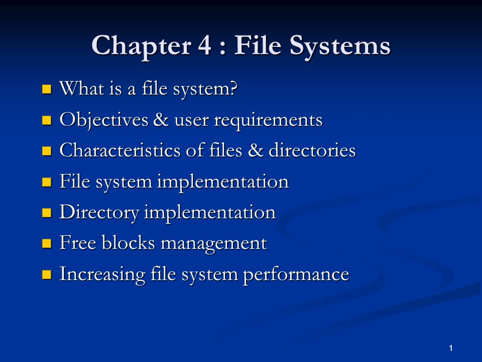32 How to Keep Track of Free Disk Blocks Linked list of disk blocks Linked list of disk blocks Bit maps Bit maps Indexing as used in DOS FAT Indexing as used in DOS FAT