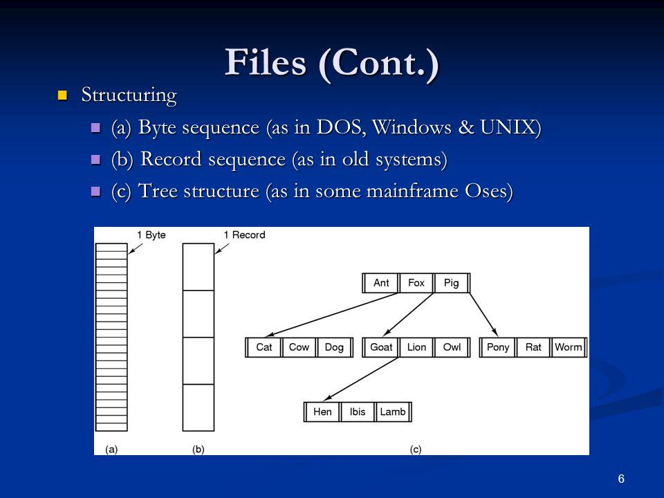 7 File types File types Regular (ASCII, binary) Regular (ASCII, binary) Directories Directories Character special files Character special files Block special files Block special files File access File access Sequential access Sequential access Random access Random access