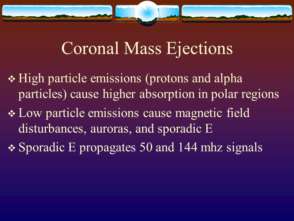 Coronal Mass Ejections  High particle emissions (protons and alpha particles) cause higher absorption in polar regions  Low particle emissions cause