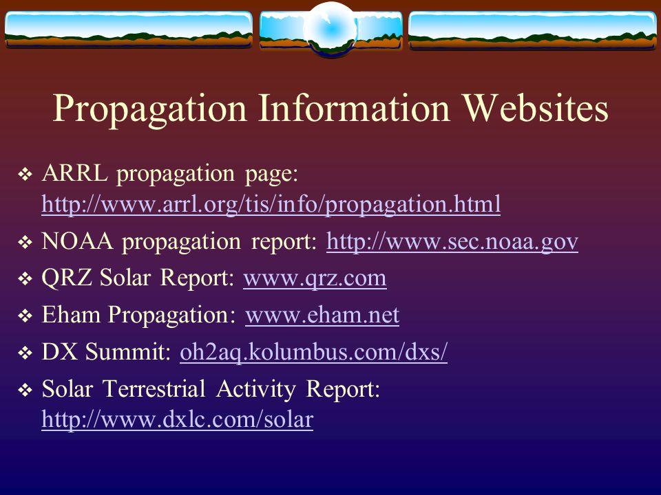 Propagation Information Websites  ARRL propagation page: http://www.arrl.org/tis/info/propagation.html http://www.arrl.org/tis/info/propagation.html