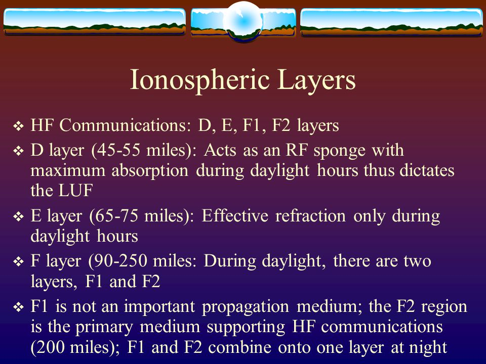 Ionospheric Layers  HF Communications: D, E, F1, F2 layers  D layer (45-55 miles): Acts as an RF sponge with maximum absorption during daylight hour