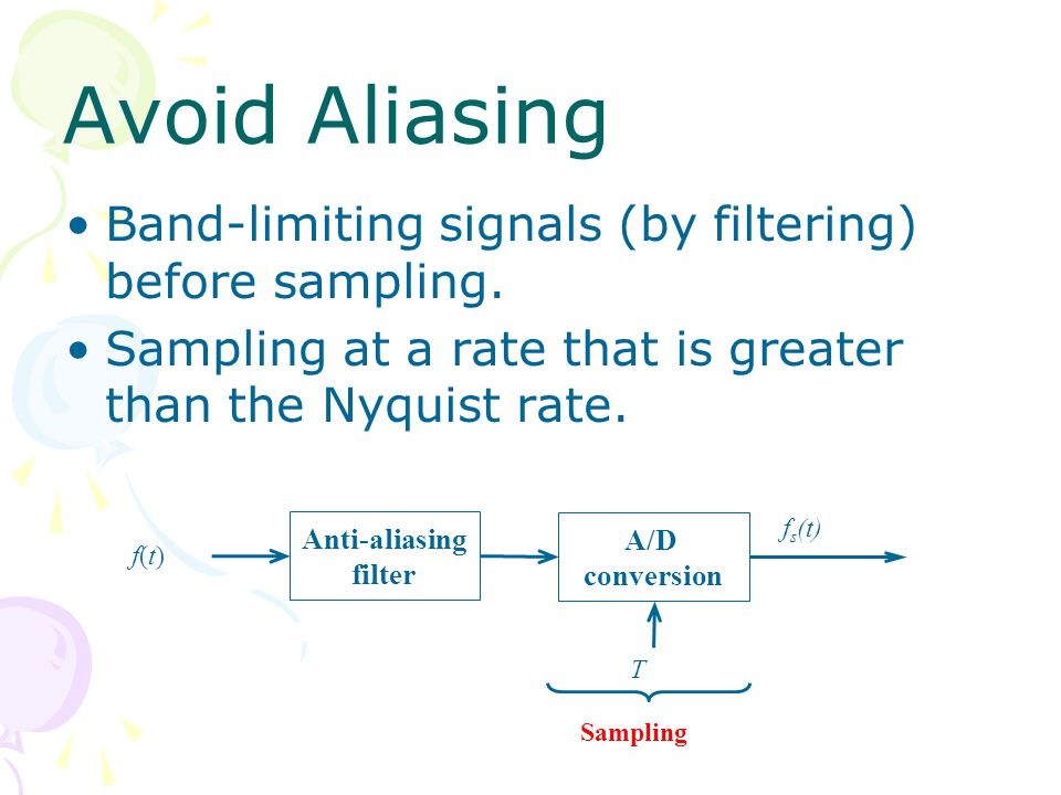 Avoid Aliasing Band-limiting signals (by filtering) before sampling.