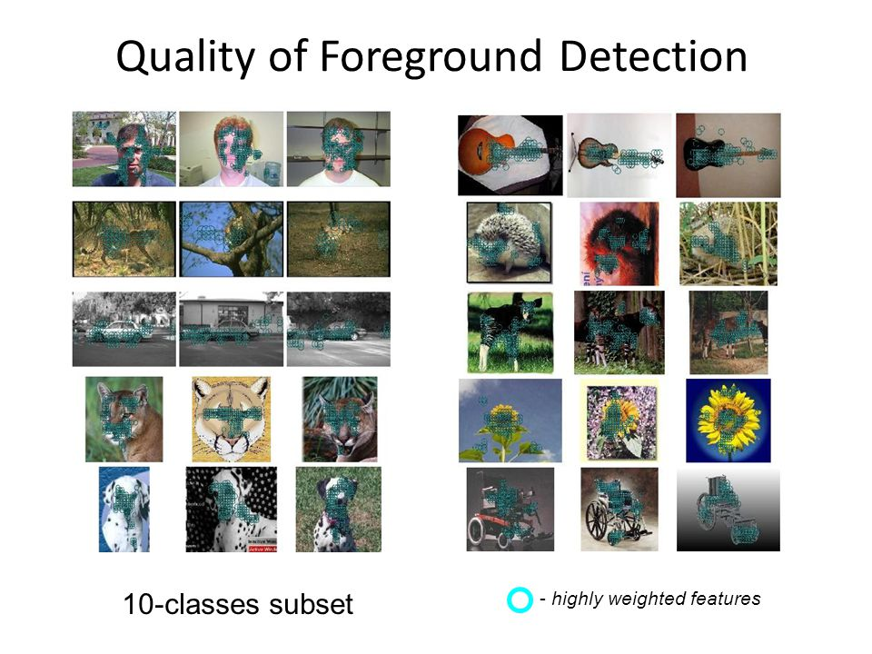 Quality of Foreground Detection 10-classes subset - highly weighted features