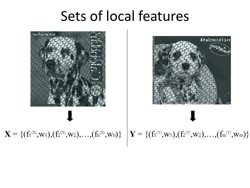 Sets of local features X = {(f 1 (X),w 1 ),(f 2 (X),w 2 ),…,(f n (X),w n )}Y = {(f 1 (Y),w 1 ),(f 2 (Y),w 2 ),…,(f m (Y),w m )}