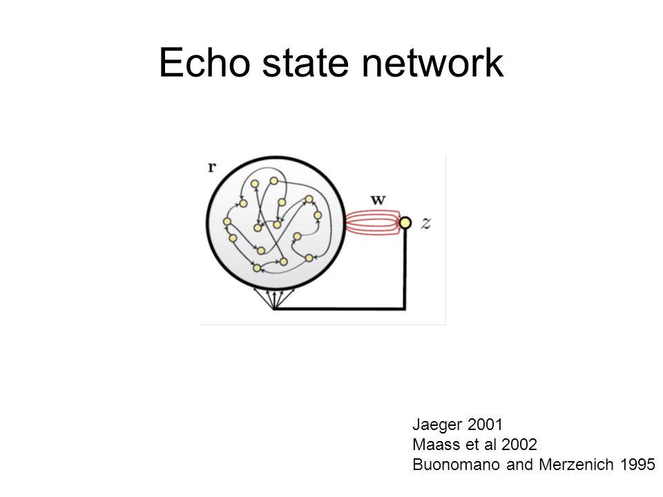 Echo state network Jaeger 2001 Maass et al 2002 Buonomano and Merzenich 1995