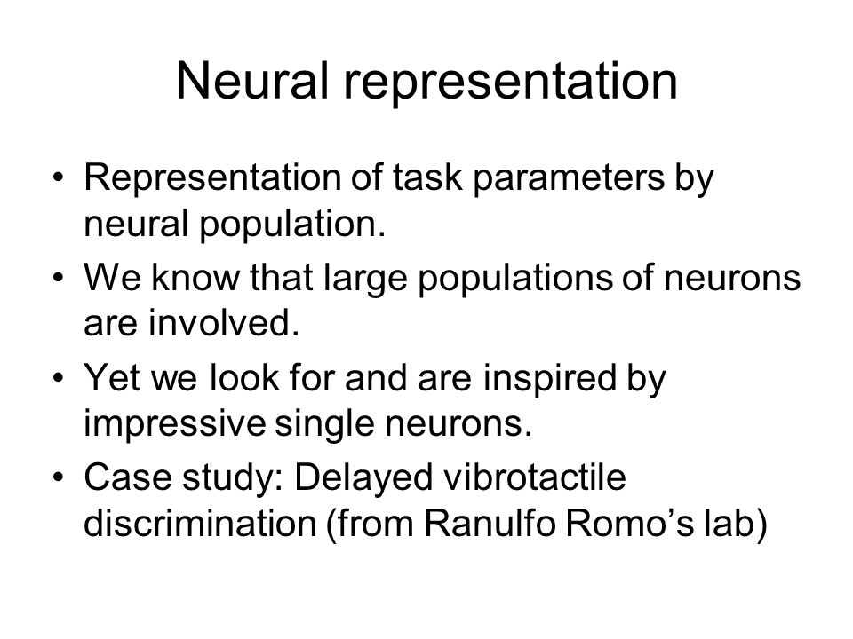 Neural representation Representation of task parameters by neural population.