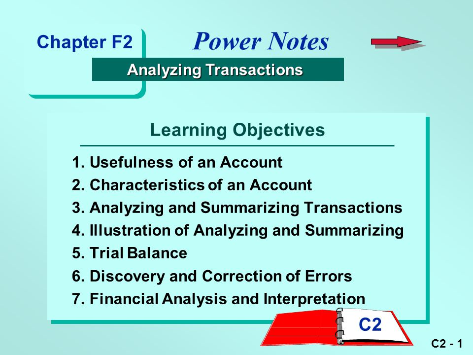 C2 - 1 Learning Objectives 1.Usefulness of an Account 2.Characteristics of an Account 3.Analyzing and Summarizing Transactions 4.Illustration of Analy