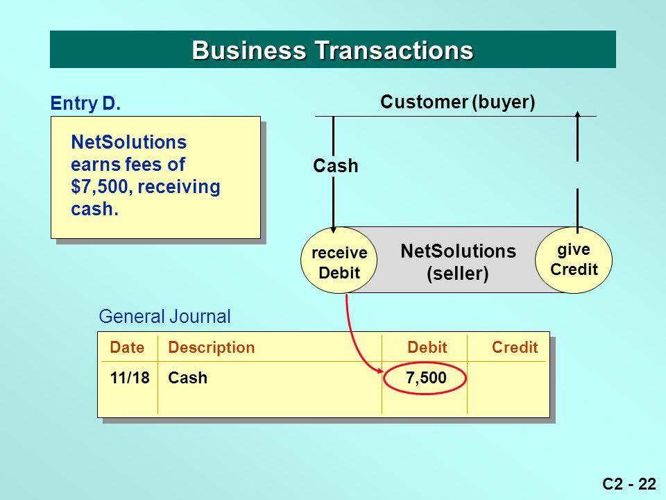 C2 - 22 NetSolutions earns fees of $7,500, receiving cash. Business Transactions receive Debit give Credit NetSolutions (seller) Cash Customer (buyer)