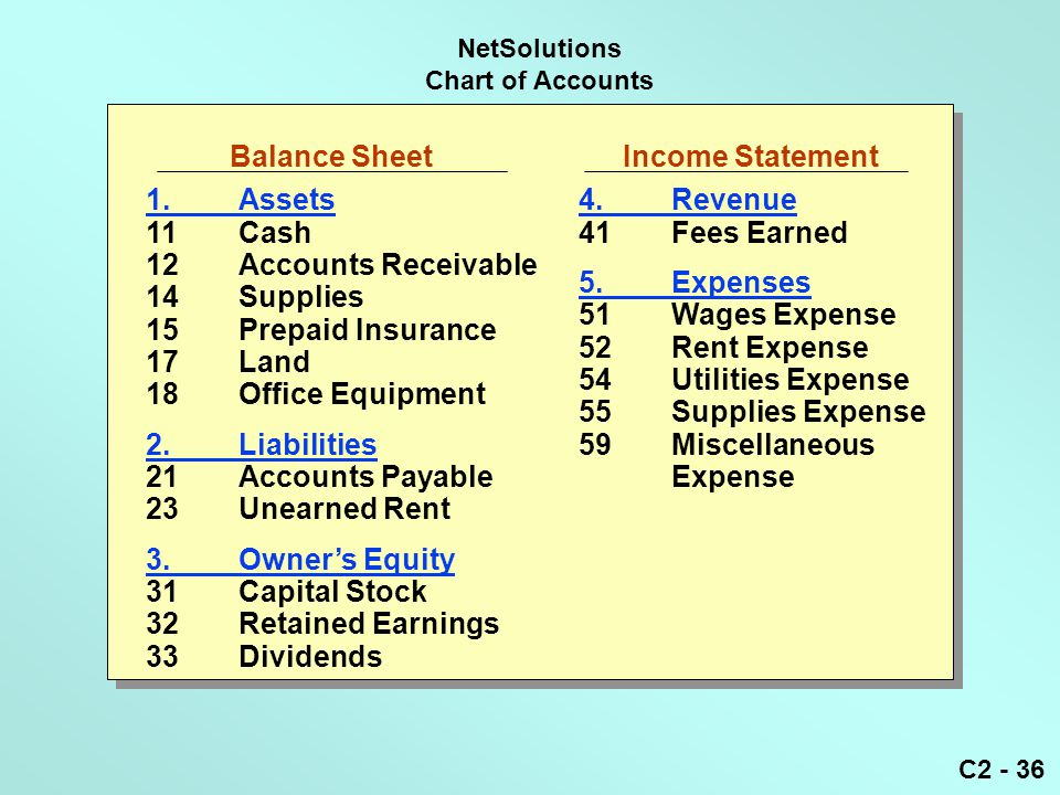 C2 - 36 NetSolutions Chart of Accounts Balance Sheet Income Statement 1.Assets 11Cash 12Accounts Receivable 14Supplies 15Prepaid Insurance 17Land 18Of
