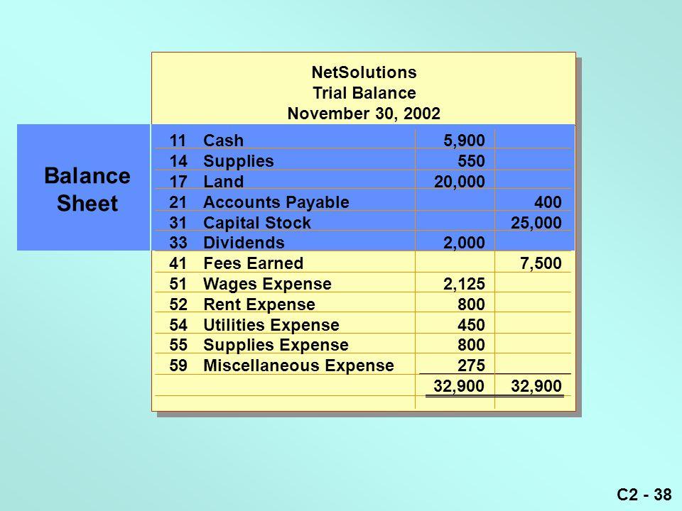 C2 - 38 NetSolutions Trial Balance November 30, 2002 11Cash5,900 14Supplies550 17Land20,000 21Accounts Payable400 31Capital Stock25,000 33Dividends2,0