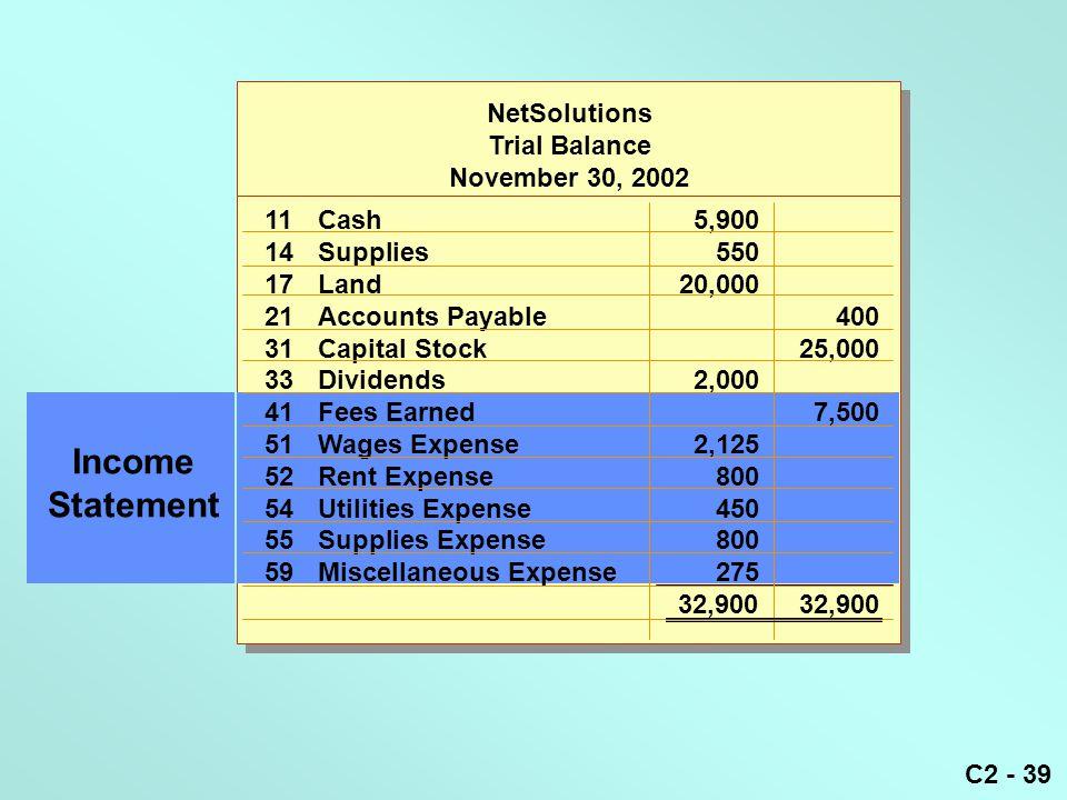 C2 - 39 Income Statement NetSolutions Trial Balance November 30, 2002 11Cash5,900 14Supplies550 17Land20,000 21Accounts Payable400 31Capital Stock25,0