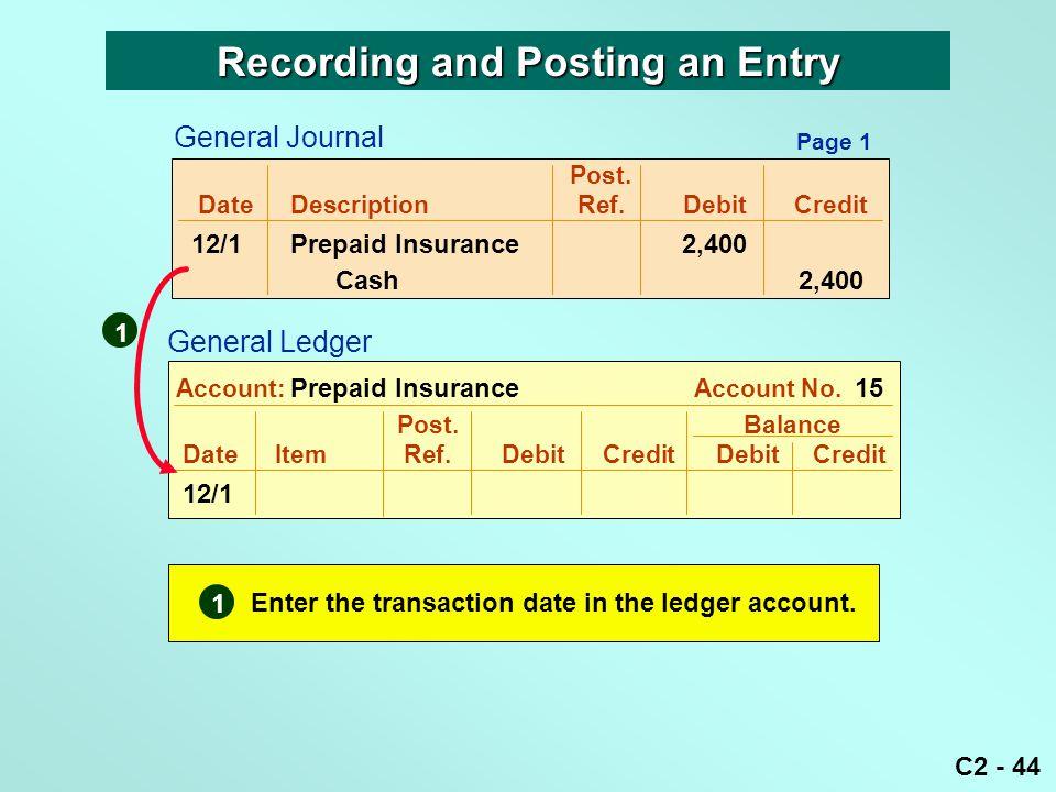 C2 - 44 Post. DateDescriptionRef.DebitCredit 12/1Prepaid Insurance 2,400 Cash 2,400 Post. Balance DateItemRef.DebitCredit DebitCredit 12/1 Account: Pr