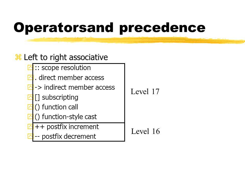 Operators zRight to left associative y++ prefix increment y-- prefix decrement y~ one's complement y.