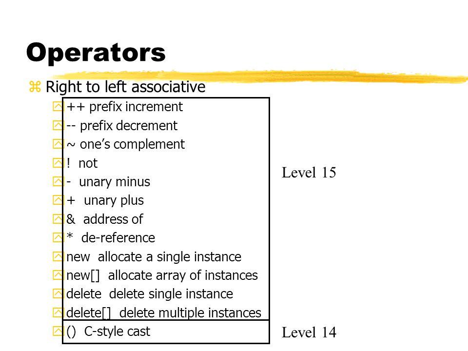 Operators zLeft to right associative y* multiplication y/ division y% modulus y+ addition y- subtraction y<< shift left y>> shift right y< less than y<= less than or equal to y> greater than y>= greater than or equal to Level 13 Level 12 Level 11 Level 10