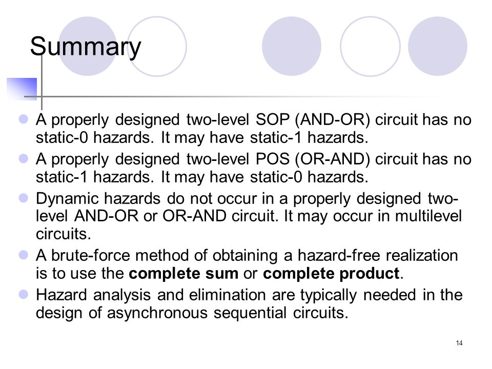 14 Summary A properly designed two-level SOP (AND-OR) circuit has no static-0 hazards. It may have static-1 hazards. A properly designed two-level POS