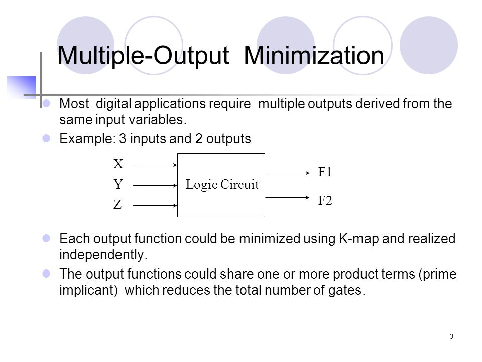 3 Multiple-Output Minimization Most digital applications require multiple outputs derived from the same input variables. Example: 3 inputs and 2 outpu