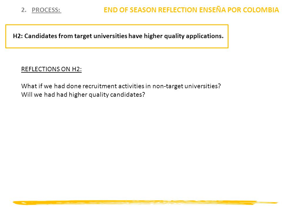 2.PROCESS: END OF SEASON REFLECTION ENSEÑA POR COLOMBIA H2: Candidates from target universities have higher quality applications. REFLECTIONS ON H2: W