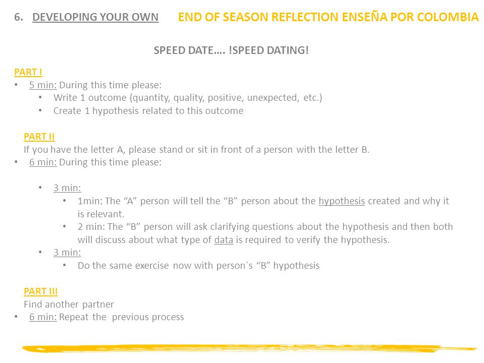 6.DEVELOPING YOUR OWN END OF SEASON REFLECTION ENSEÑA POR COLOMBIA SPEED DATE….