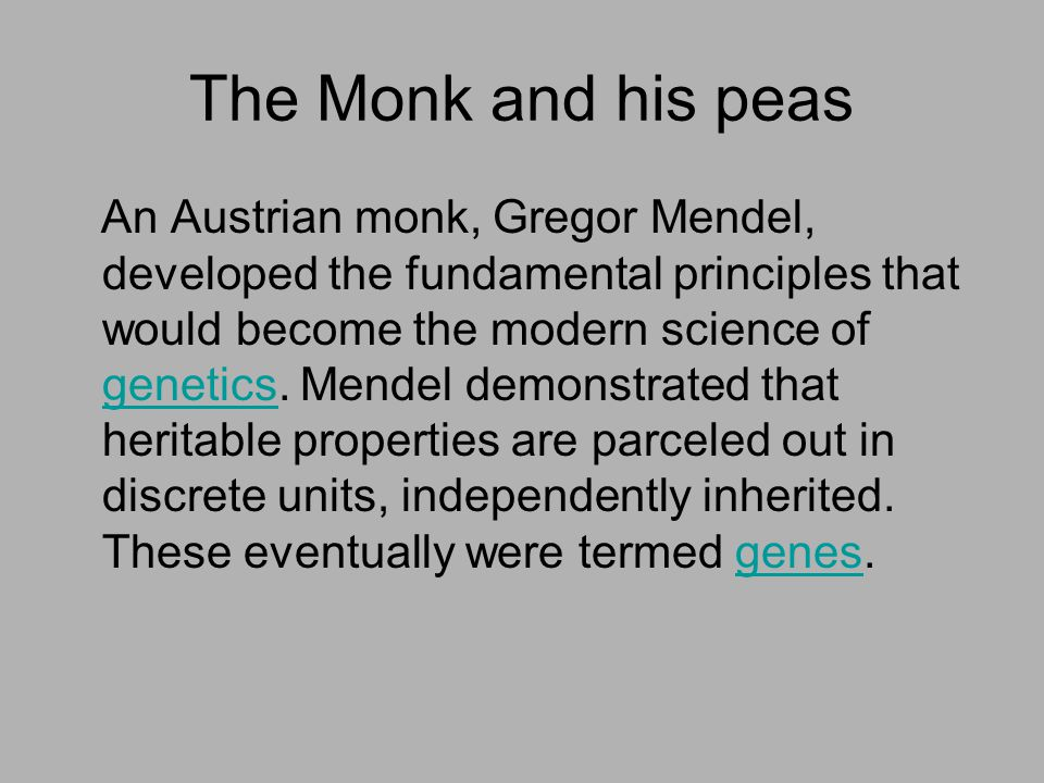 The Monk and his peas An Austrian monk, Gregor Mendel, developed the fundamental principles that would become the modern science of genetics. Mendel d