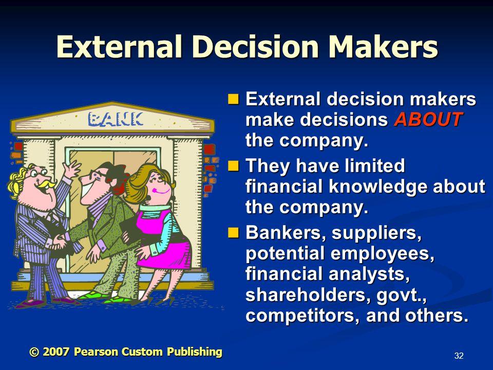 32 © 2007 Pearson Custom Publishing External Decision Makers External decision makers make decisions ABOUT the company.