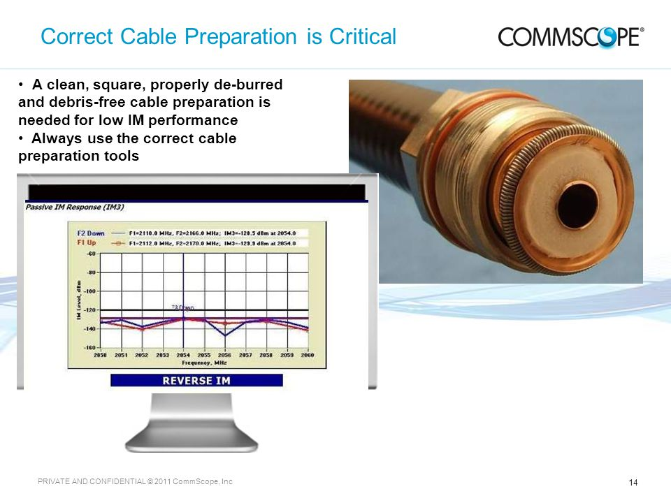 14 PRIVATE AND CONFIDENTIAL © 2011 CommScope, Inc Correct Cable Preparation is Critical A clean, square, properly de-burred and debris-free cable preparation is needed for low IM performance Always use the correct cable preparation tools