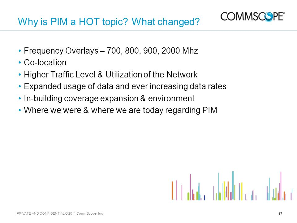 17 PRIVATE AND CONFIDENTIAL © 2011 CommScope, Inc Why is PIM a HOT topic.
