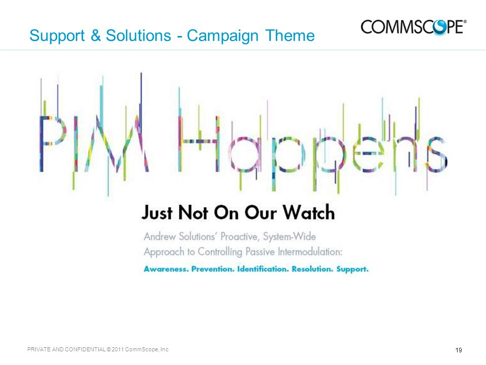 19 PRIVATE AND CONFIDENTIAL © 2011 CommScope, Inc Support & Solutions - Campaign Theme