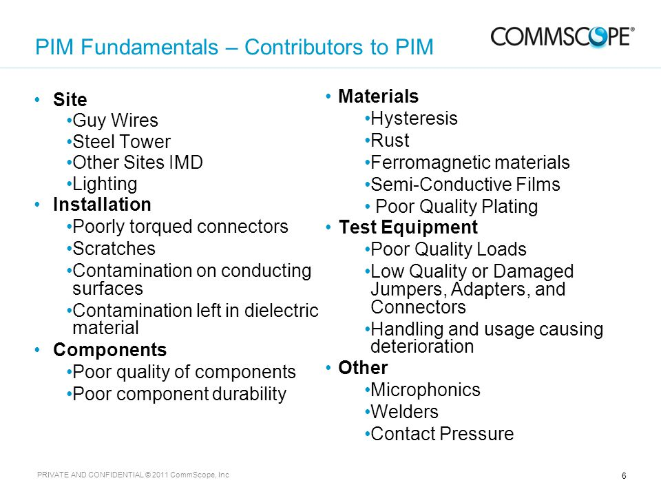 7 PRIVATE AND CONFIDENTIAL © 2011 CommScope, Inc On-Site Antenna Measurements with iQA2000 Portable PIM Clear sky RF field of view required to avoid any secondary PIM sources which could cause false PIM failures.